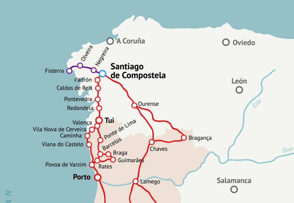 Jakobsweg Portugal Karte
