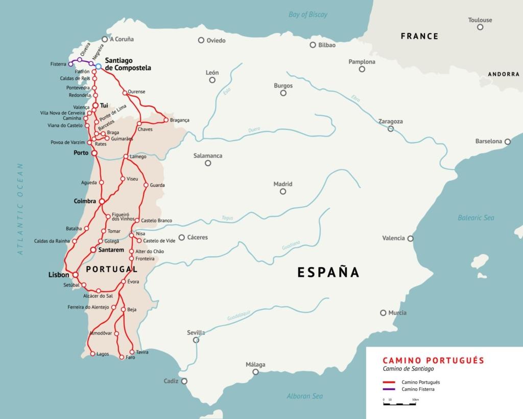Karte Camino Portugues ab Lissabon